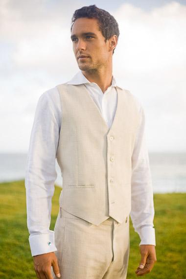 Custom Linen Beach Wedding Outfits for Grooms