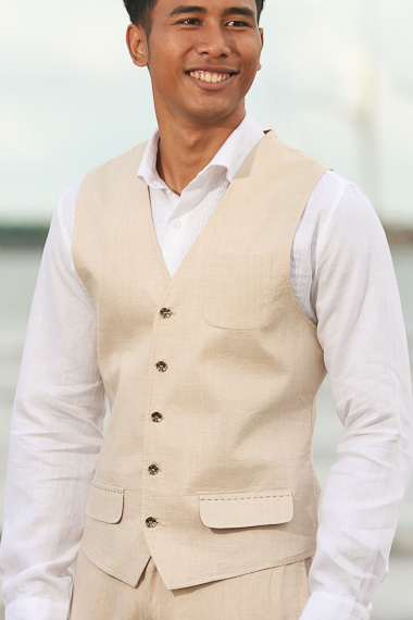Men's Linen Natural Vest - Beach Wedding