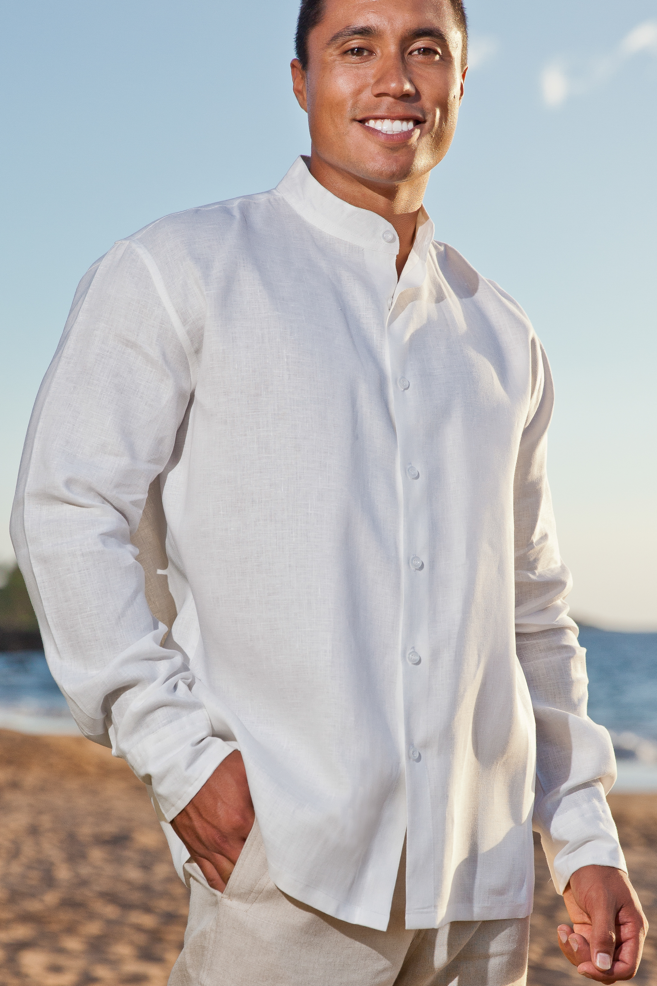 Men s Linen Nehru Collar Long Sleeve White Shirt - Island Importer ac47abfd588