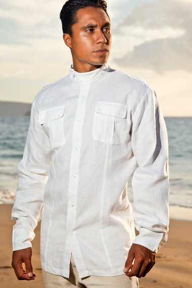 Linen safari shirt - sporty fit - elongated mandarin collar flap - white - Island Importer