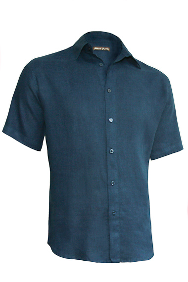 f35ebd4490ff Men s Linen Dark Blue Eco-Friendly Shirt - Island Importer