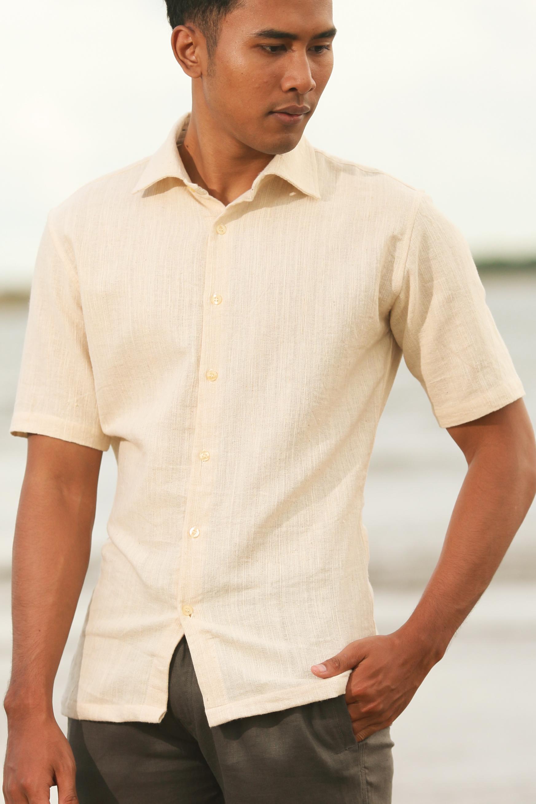 Men's Organic Cotton Short Sleeve Italian Natural Shirt