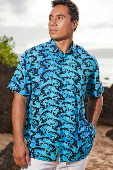 Men s Shark Batik Island Hawaiian Short Sleeve Rayon Shirt