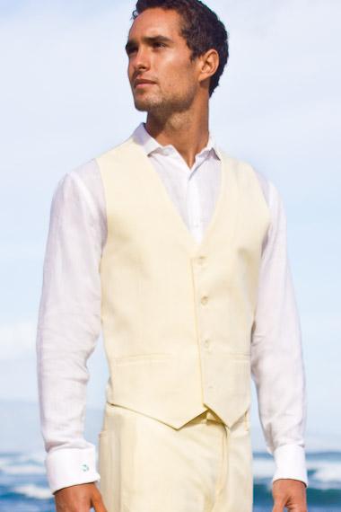 Men's Silk-Blend Custom Ivory Suit Vest Beach Wedding