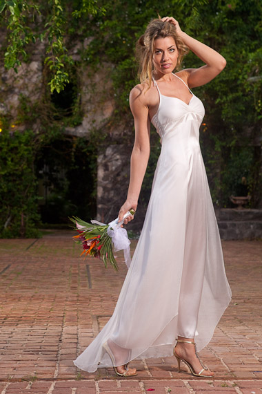 silk chiffon halter dress double layer custom order white island importer