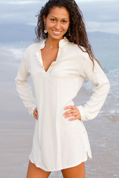 Sun tunic - striped linen-blend - white - Island Importer