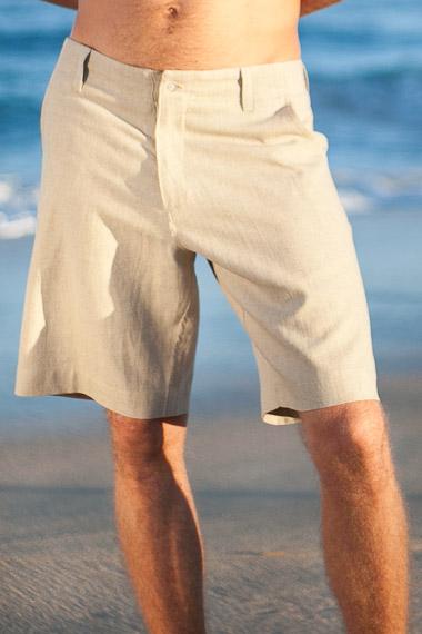 Mens Linen Maui Shorts, White, Ivory, Natural