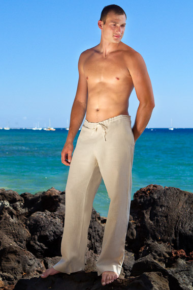 Mens Drawstring, Linen, Beach Wedding Pants, Natural