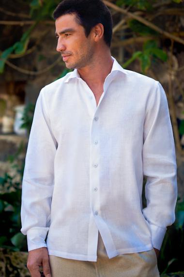 Men's Linen Long Sleeve Italian Shirt - White - Beach Wedding