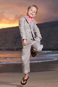 Boy's Custom Gray Linen Suit Beach Wedding