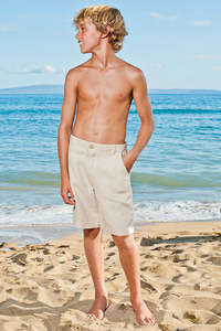 Boy's Linen Casual Maui Natural (Khaki) Shorts