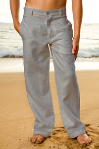 Boy's Linen Gray Italian Pants - Beach Wedding