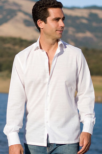 Men's Bamboo Long Sleeve White Italian Shirt