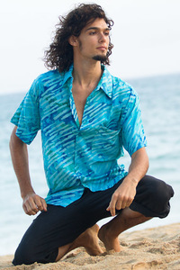 Men's Batik Island Hawaiian Short Sleeve Rayon Shirt