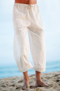 Men's Cotton Capri Loose Fit White Yoga Pants