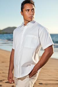 Men's Cotton Short Sleeve White Island Shirt