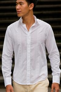 Men's Cotton White Long Sleeve Shirt Beach Wedding