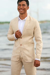 Men's Custom Natural Tan Linen Suit Beach Weddings & Grooms