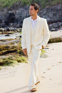 Men's Custom Silk-Blend Dark Ivory Suit Beach Wedding