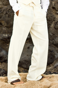 Men's Custom Silk-Blend Ivory Suit Pants Beach Wedding