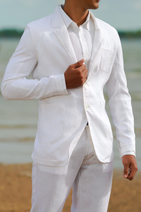Custom White Linen Havana Suit