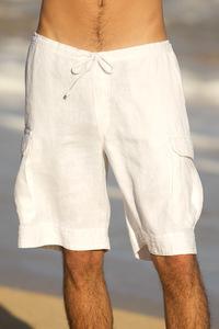 Men's Linen Cargo White Drawstring Shorts