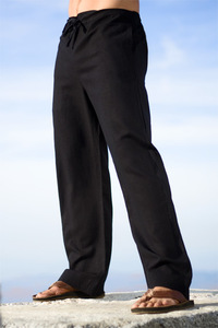 Men's Linen Drawstring Loose Fit Black Pants
