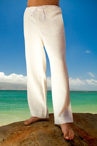 Men's Linen Drawstring Loose Fit Ivory Pants