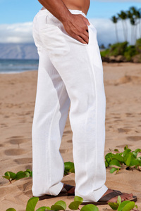 Men's Linen Drawstring Loose Fit White Pants