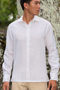 Men's Linen Hand-Stitched Design White Long Sleeve Shirt
