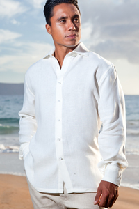 Men's Linen Long Sleeve White Italian Shirt