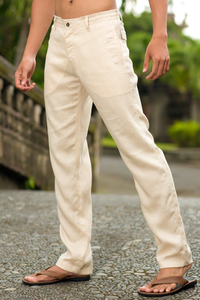 Men's Linen Natural (Khaki) Dress Pants Beach Wedding