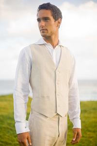 Men's Linen Natural Suit Vest Beach Wedding