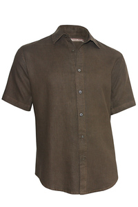 Men's Linen Short Sleeve Earth Brown Shirt