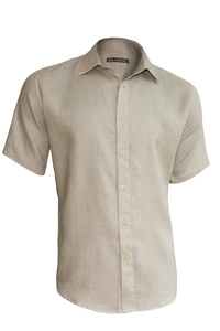 Men's Linen Short Sleeve Earth Light Gray Shirt