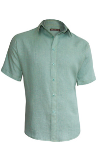 Men's Linen Short Sleeve Earth Turquoise Shirt