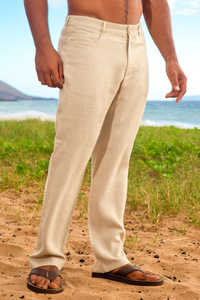 Men's Linen Yacht Pants Natural (Khaki)