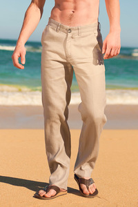 Men's Slim Fit Natural (Khaki) Linen Pants Beach Wedding