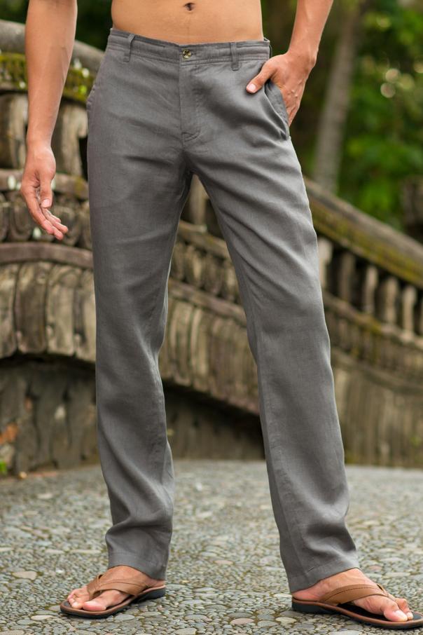 Men S Linen Gray Dress Pants Island Importer