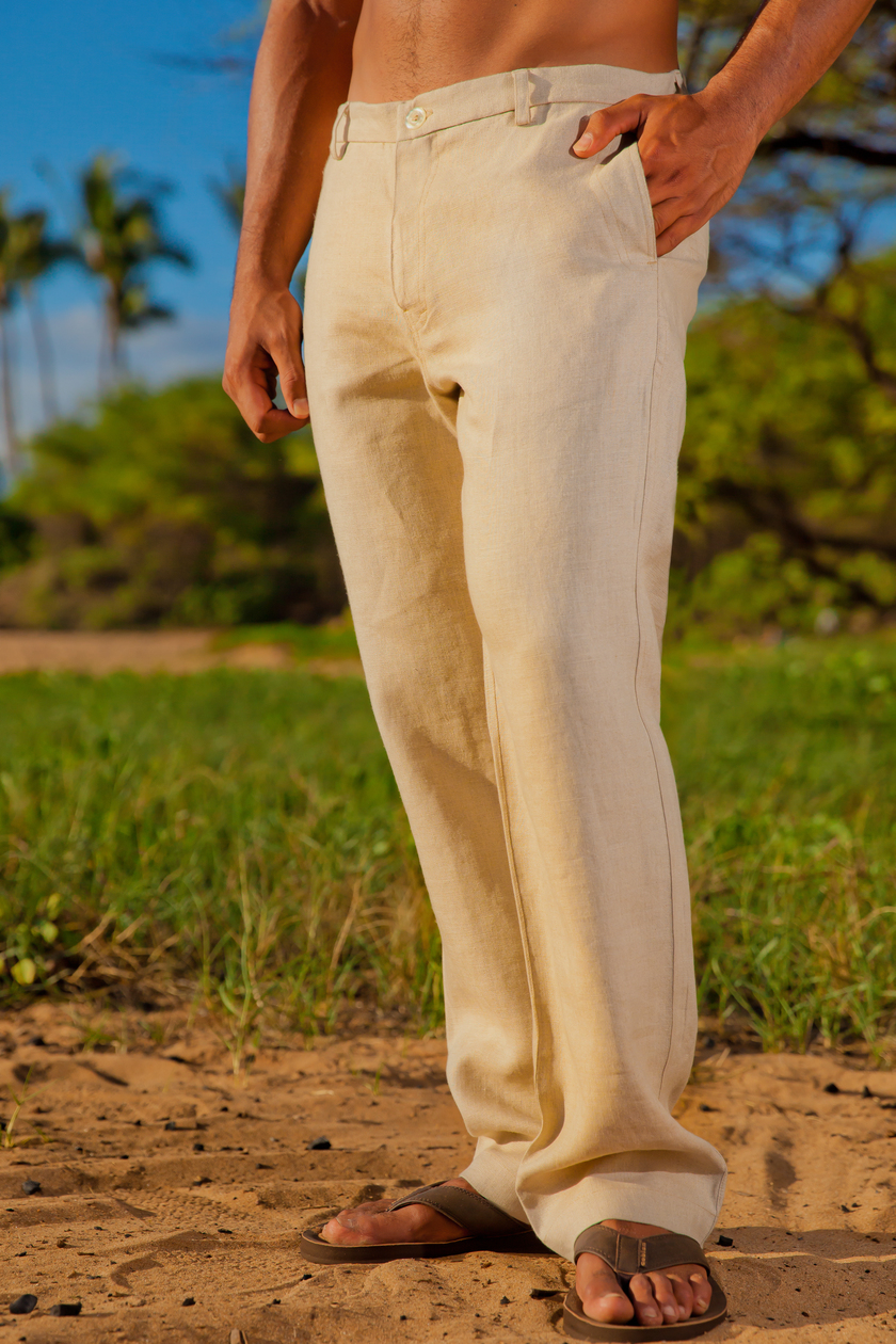 Men S Linen Italian Pants Natural Khaki Beach Wedding