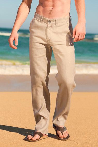 Men S Slim Fit Natural Khaki Linen Pants Beach Wedding